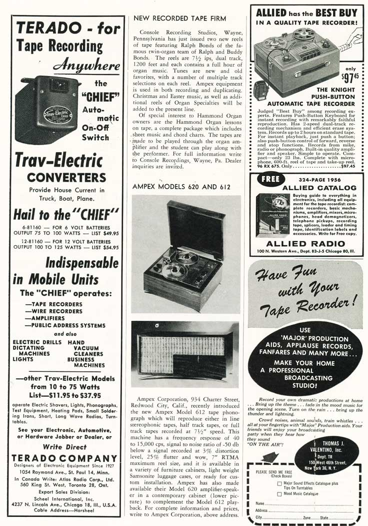 Listing of new products in 1955 in Phantom Productions' vintage tape recording collection