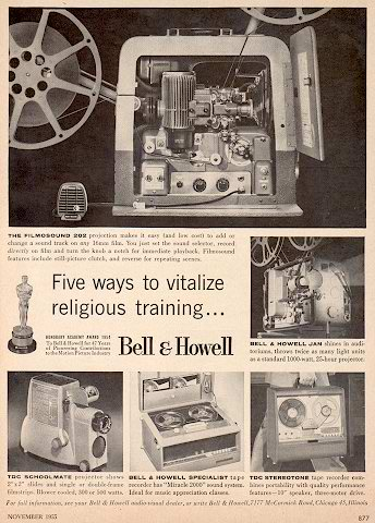1955 Nov Bell & Howell tape recorder ad in   Phantom Productions vintage tape recorder collection