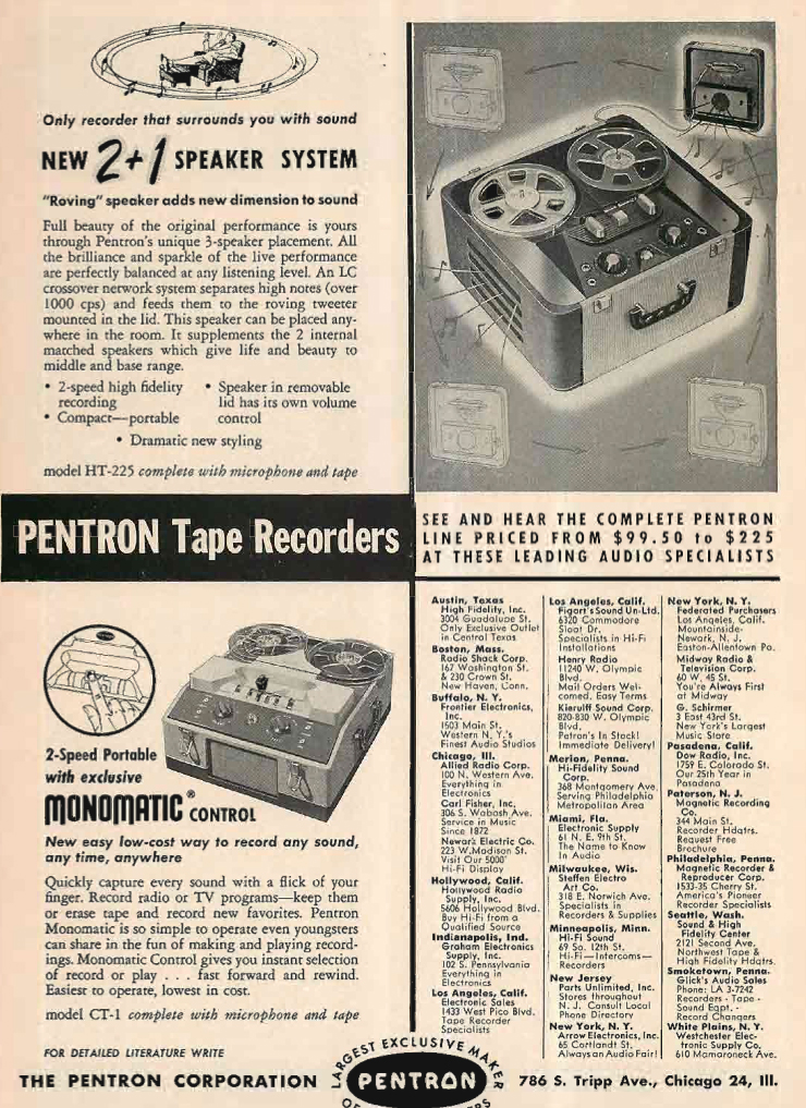 1955 ad for the Pentron H-225 reel to reel tape recorder  in Reel2ReelTexas.com's vintage recording collection