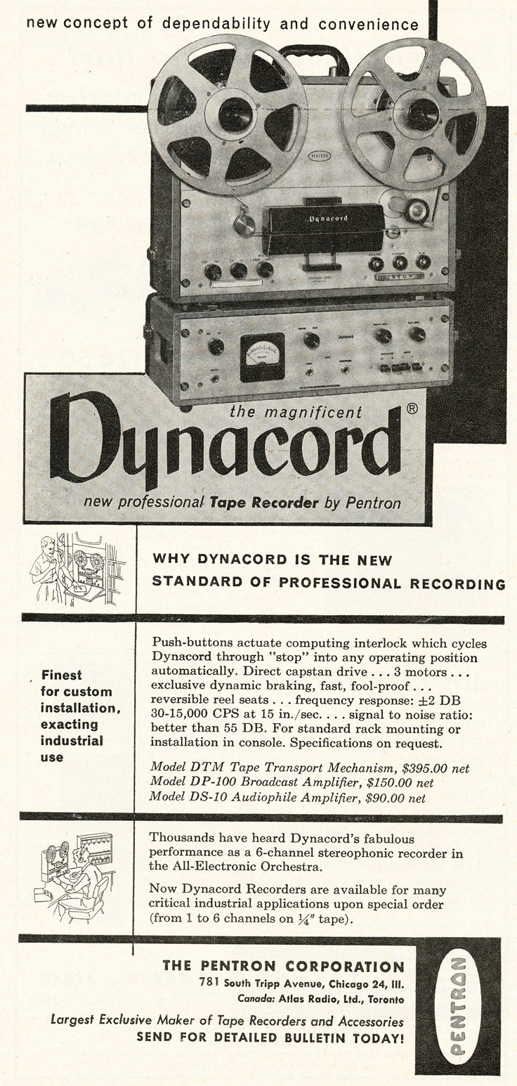 1955 Pentron Dynacord reel to reel tape recorder ad for the Reel2ReelTexas.com's vintage recording collection