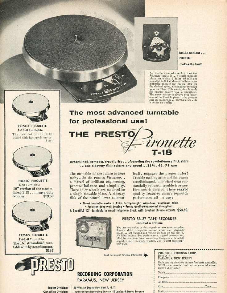1955 ad for Presto reel to reel tape recorders in Reel2ReelTexas.com's vintage recording collection