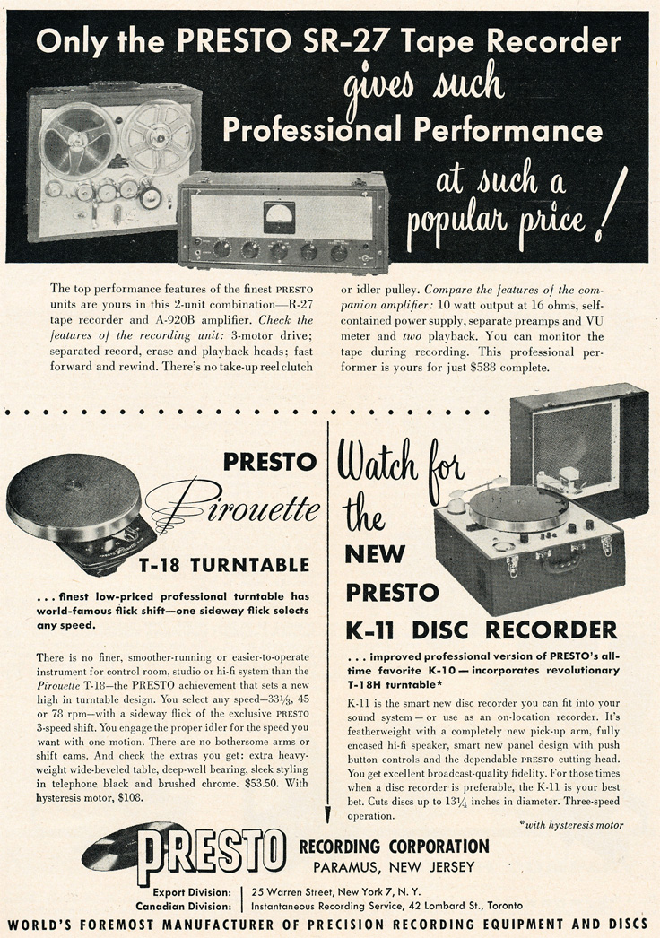 Presto ads from 1955 in the Museum of Magnetic Sound Recording