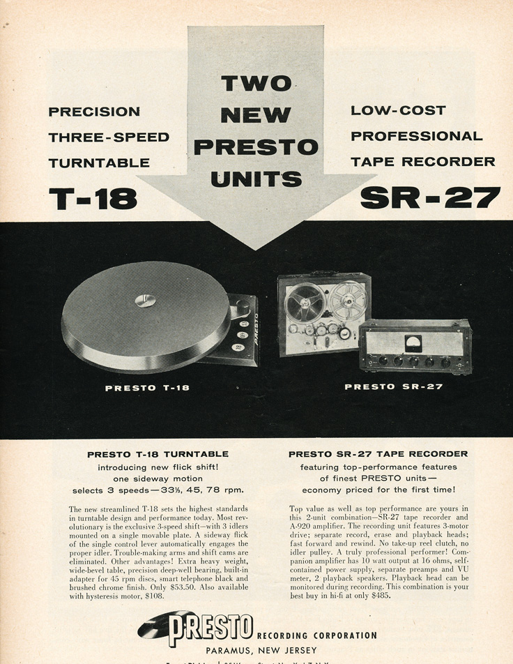 1955 ad for Presto SR-27 reel to reel tape recorder in Reel2ReelTexas.com's vintage recording collection