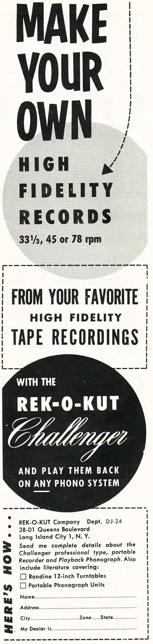 1955 ad for Rek-O-Kut in Reel2ReelTexas.com's vintage recording collection
