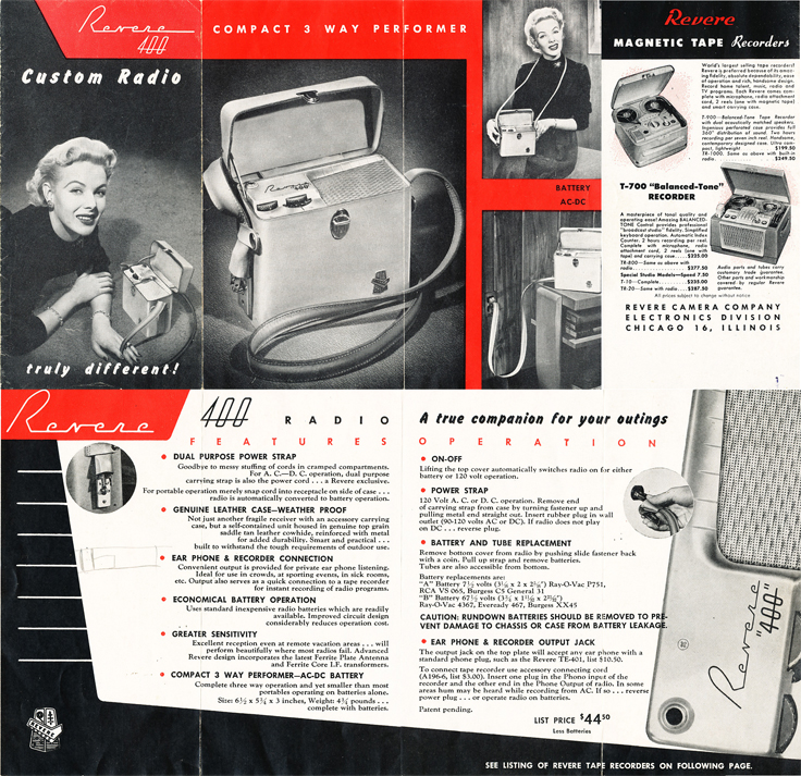 1955 brochure for Revere reel tape recorders in Reel2ReelTexas' vintage recording collection
