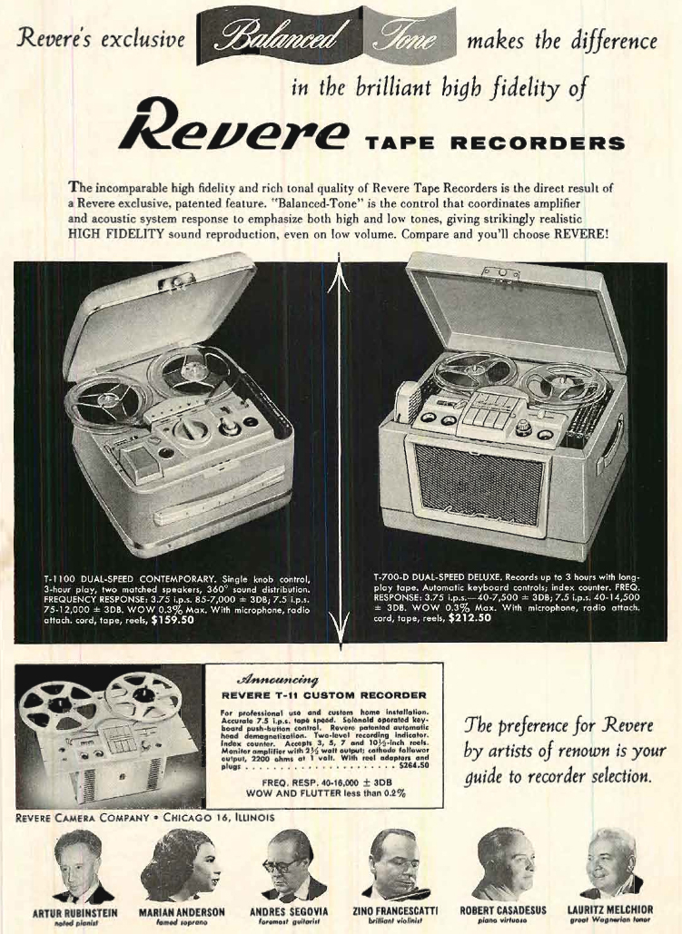 1955 ad for Revere reel tape recorders in Reel2ReelTexas' vintage recording collection