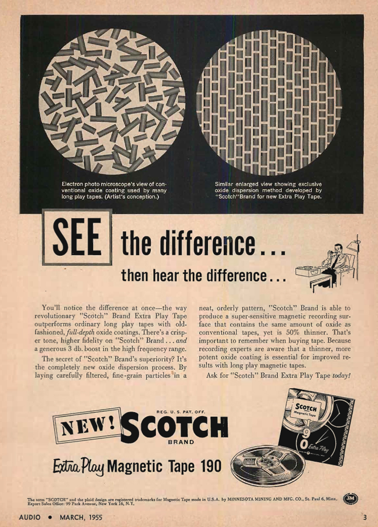 1955 ad for the 3M Scotch 190 reel to reel recording tape in Reel2ReelTexas.com's vintage recording collection