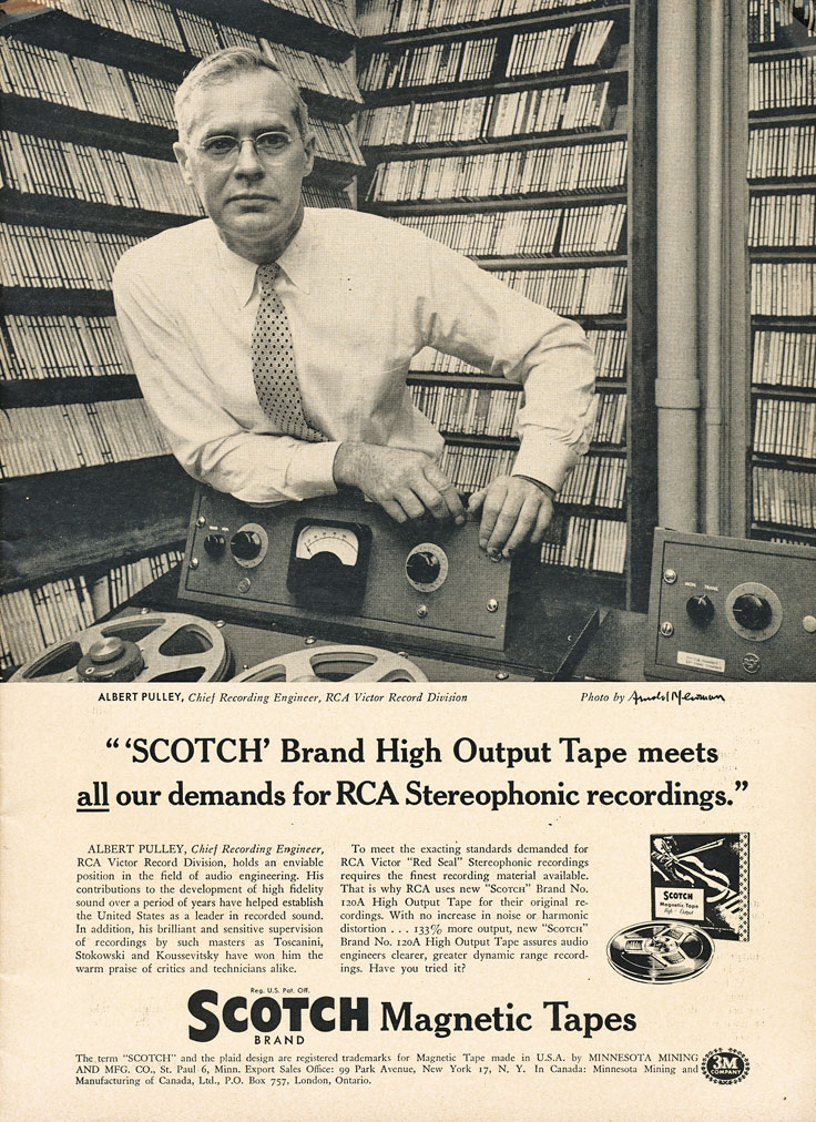 1955 ad for the 3M Scotch reel to reel recording tape in Reel2ReelTexas.com's vintage recording collection