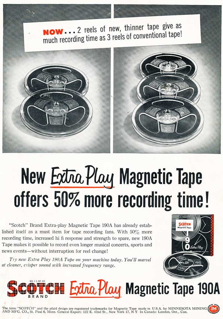 1955 ad for 3M Scotch reel to reel recording tape in Reel2ReelTexas' vintage recording collection