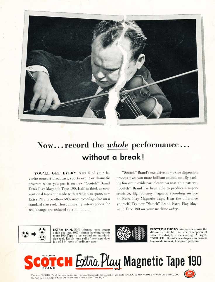 Another 1955 ad for 3M Scotch reel to reel recording tape in Reel2ReelTexas' vintage recording collection