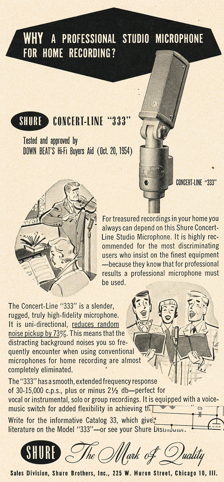 1955 Shure 333 microphone ad in Phantom Productions' vintage tape recording collection