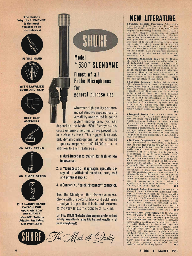 1955 Shure 530 microphone ad in Phantom Productions' vintage tape recording collection