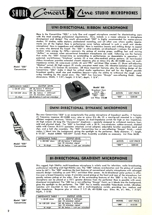 1955 Shure microphone and recording head brochure in Phantom Productions' vintage tape recording collection