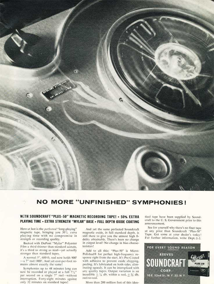 1955 ad for Reeves Soundcraft reel recording tape in Reel2ReelTexas.com's vintage recording collection