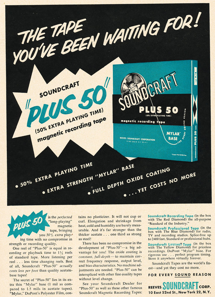 1955 Soundcraft reel tape ad in Reel2ReelTexas.com's vintage recording collection