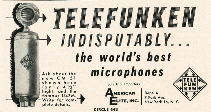 1955 ad for Telefunken microphones in the Reel2ReelTexas.com's vintage recording collection