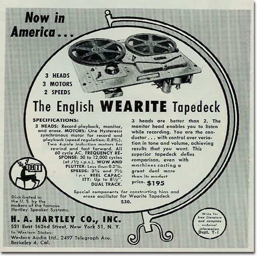picture of United Kingdom Wearite US reel to reel  tape recorder ad