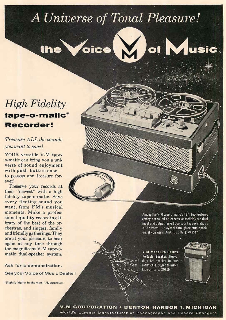 1955 ad for Voice of Music reel to reel tape recorders in Reel2ReelTexas.com's vintage recording collection