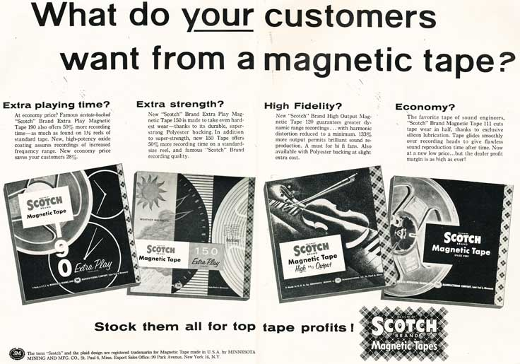 1956 ad for 3M Scotch brand reel recording tape in the Reel2ReelTexas.com's vintage recording collection