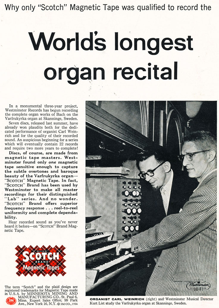 1957 ad for 3M Scotch brand reel recording tape in the Phantom Productions' vintage recording collection