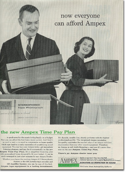 1956 ad for Ampex reel to reel tape recorders in the Reel2ReelTexas.com's vintage recording collection