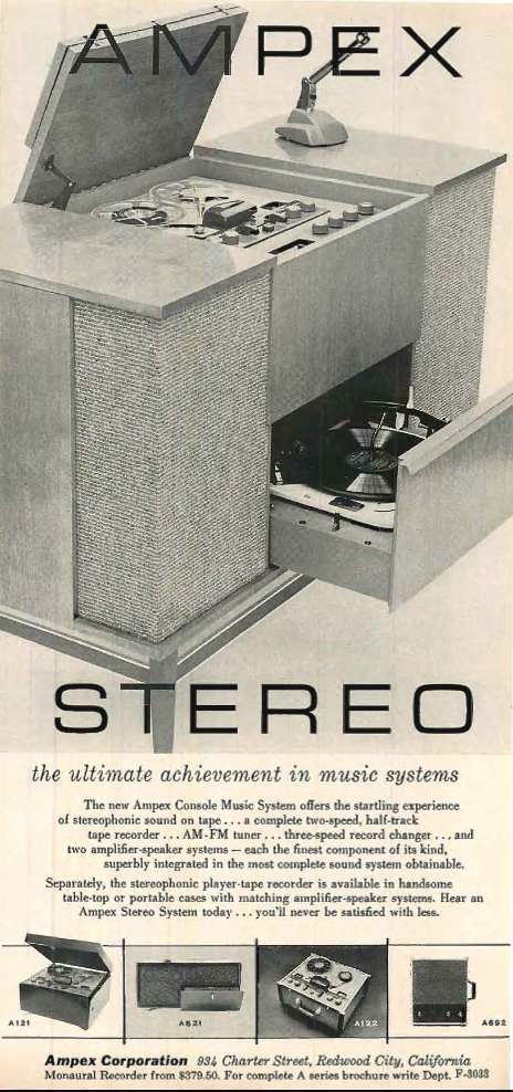 1956 ad for Ampex reel to reel tape recorder Consoles in the Reel2ReelTexas.com's vintage recording collection