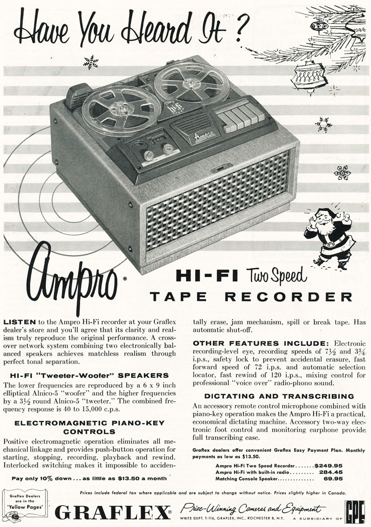 1956 ad for the Ampro reel to reel tape recorder in Reel2ReelTexas' vintage recording collection