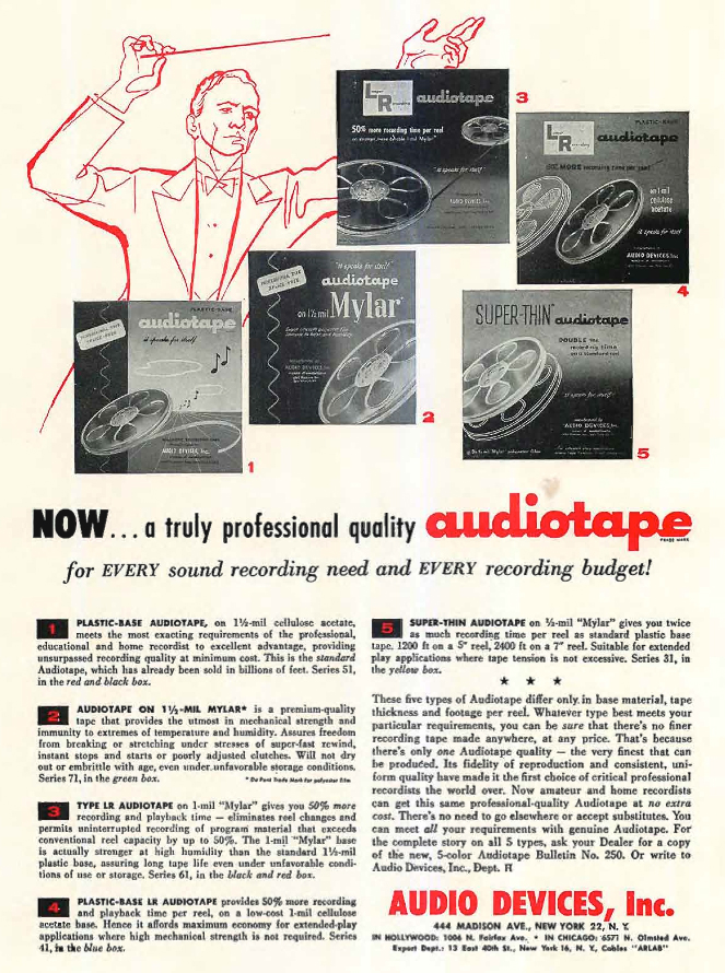 1956 Audio Devices reel recording tape ad in phantom Productions' vintage recording collection