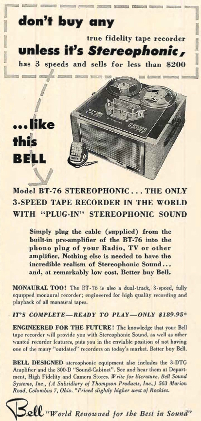 1956 ad for Bell BT-76  reel to reel tape recorders in Reel2ReelTexas.com's vintage recording collection