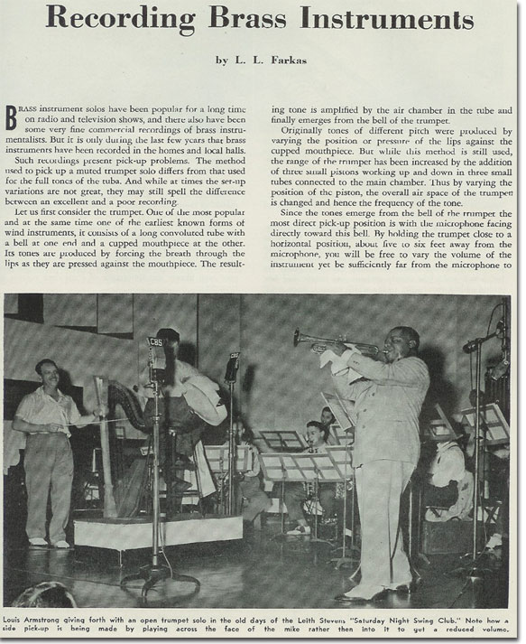 picture of story picturing Louis Armstrong on how to record Brass instruments from 1956 Tape Recording magazine