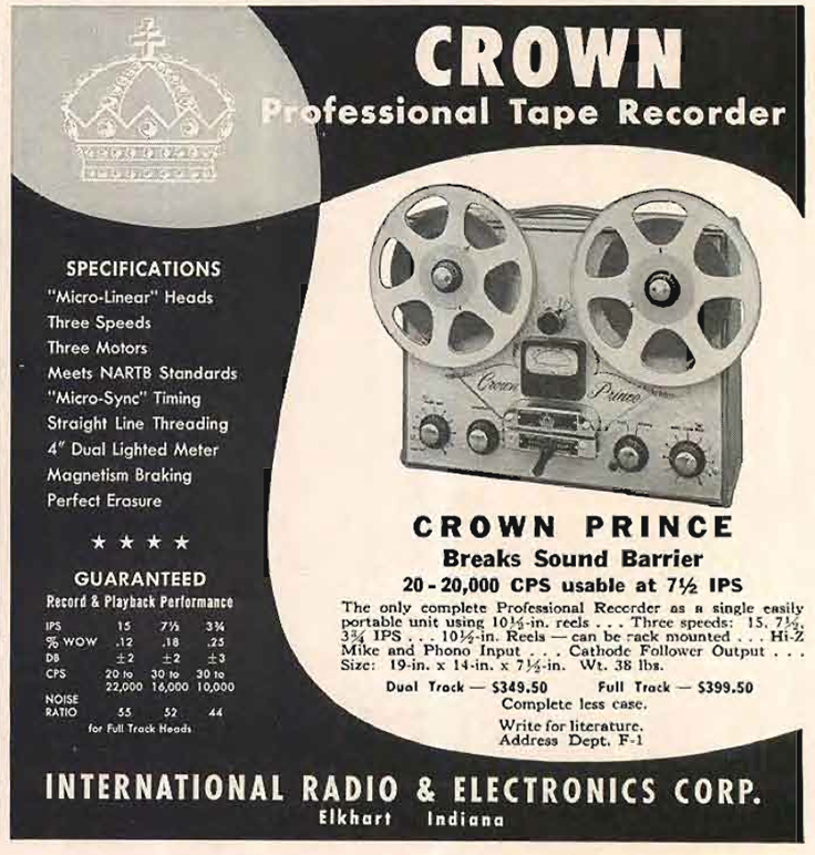 1956 ad for the Crown Prince  reel to reel tape recorder in Reel2ReelTexas' vintage recording collection