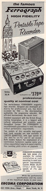 1956 ad for the UK's Ferrograph reel tape recorder in Phantom Productions' vintage recording collection