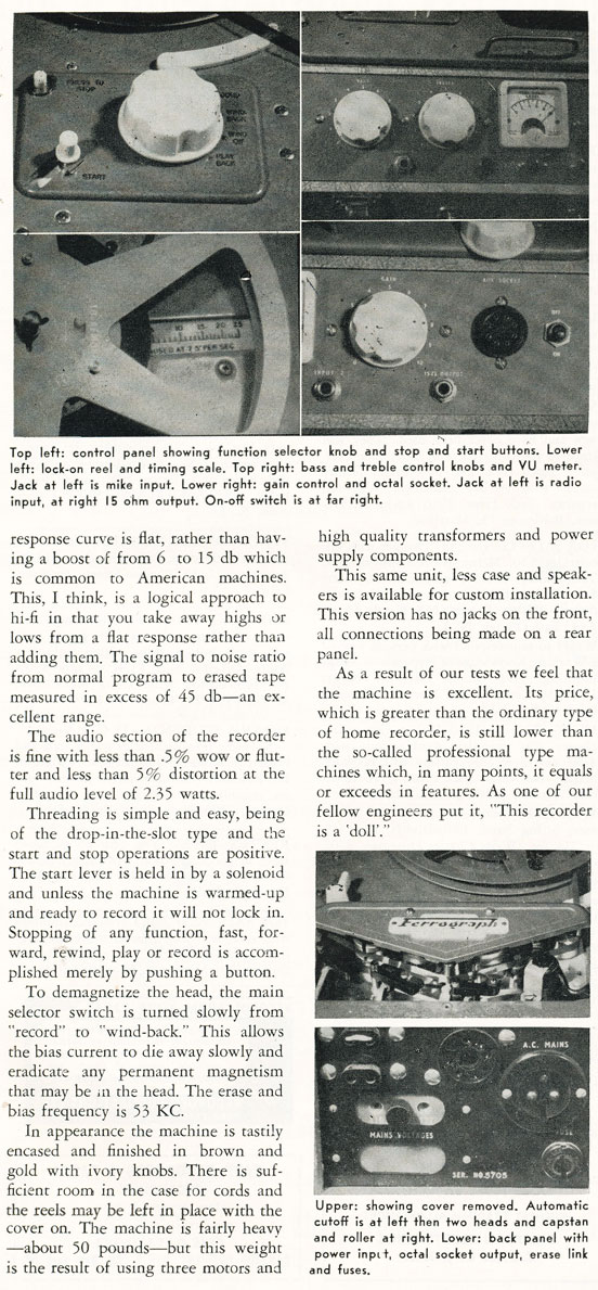Page 2 of the 1956 review of the Ferrograph reel to reel tape recorder in Reel2ReelTexas.com's vintage recording collection