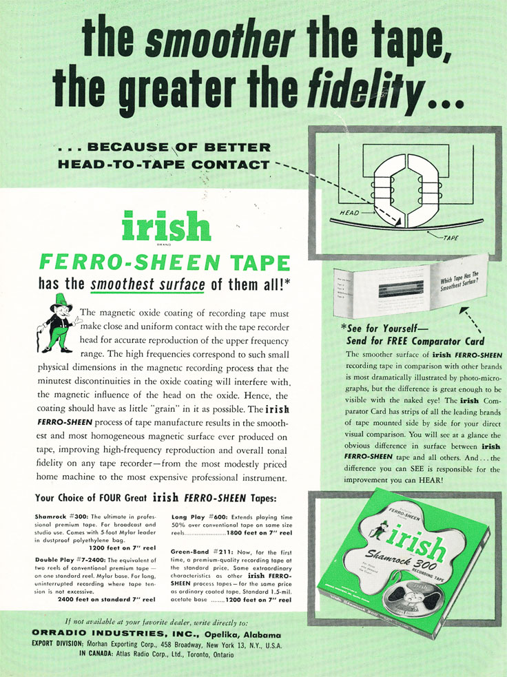 1956 Ad for Irish recording tape in   Reel2ReelTexas.com's vintage recording collection