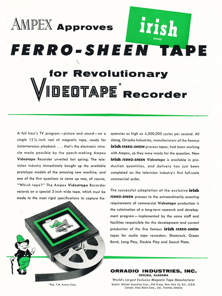 1956 Ad for Irish video recording tape in   Reel2ReelTexas.com's vintage recording collection