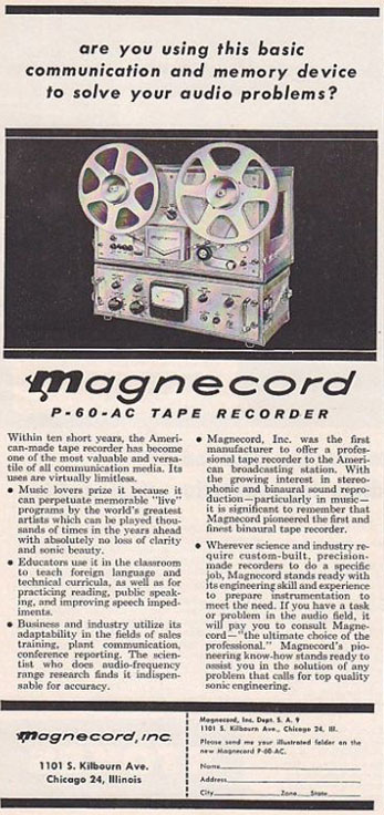 1956 ad for the Magnecord P60 reel tape recorder in Reel2ReelTexas.com's vintage recording collection