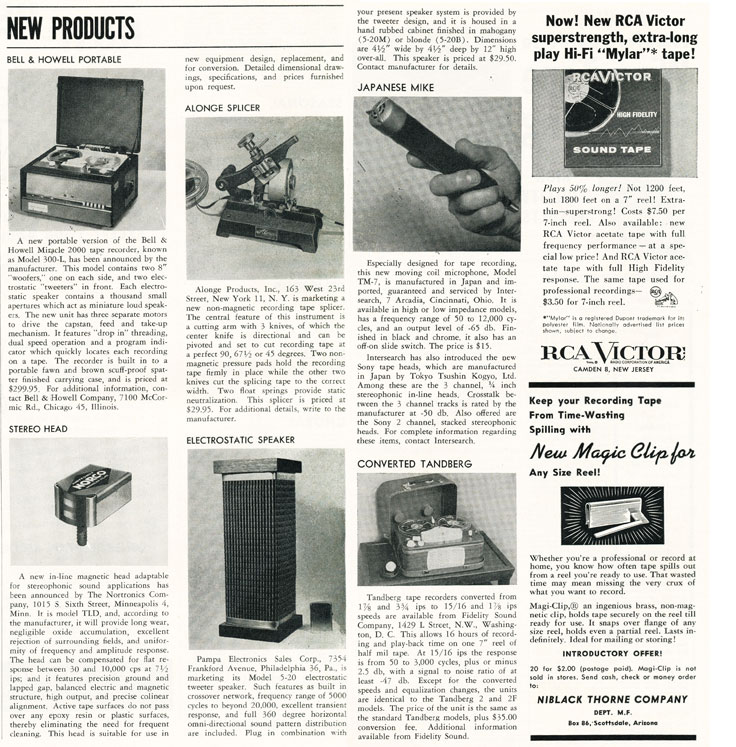 1956 listing of newly released recording products in   Reel2ReelTexas.com's vintage recording collection