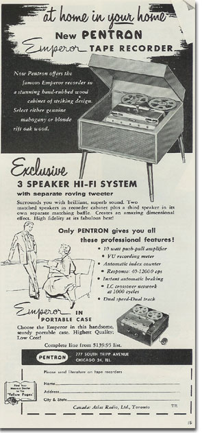 Pentron ad from 1956 Tape Recording magazine
