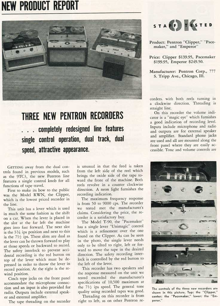 1955 review of Pentron reel to reel tape recorders in Reel2ReelTexas.com's vintage recording collection