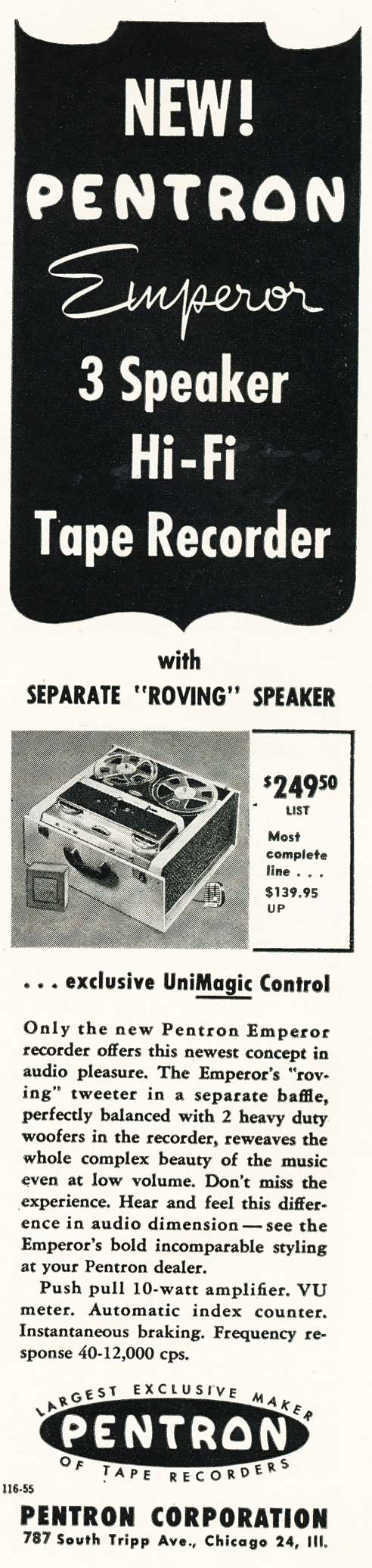 1956 Pentron tape recorder ad in   Reel2ReelTexas.com's vintage recording collection