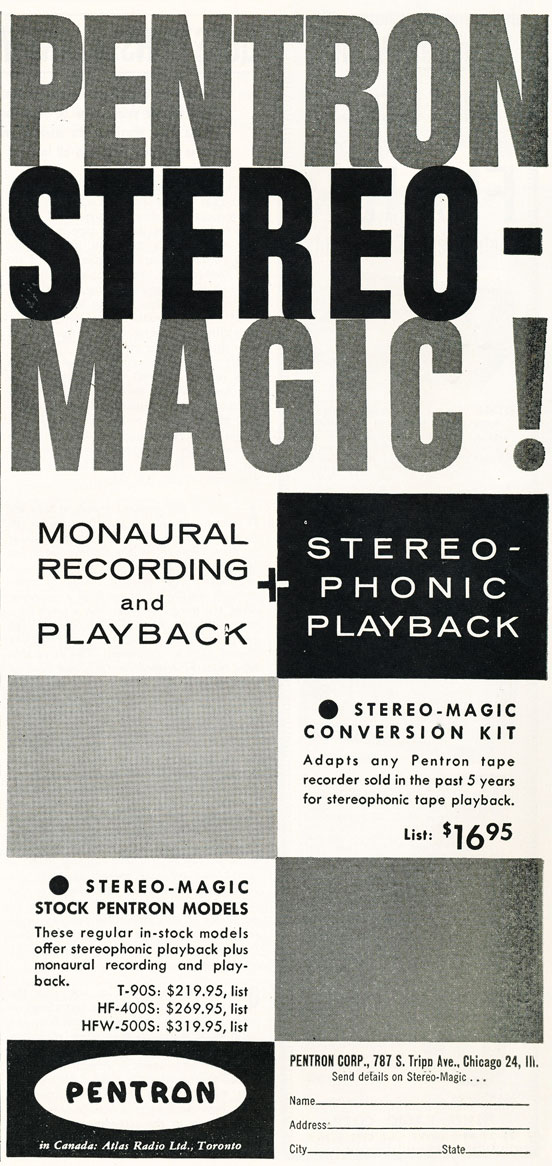 1956 Pentron tape recorder ad in Phantom productions' vintage recording collection