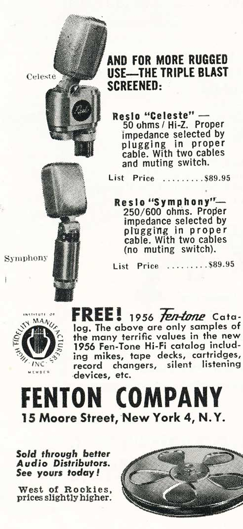 1956 ad for the Reslo microphones in Phantom Productions' vintage reel tape recording collection