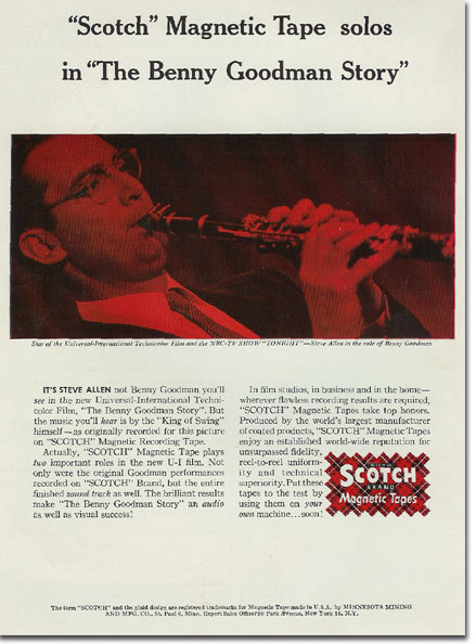 "picture of 1956 ad for Scotch recording tape showing Steve Allen as he was appearing in the movie ""The benny Goodman Story."""
