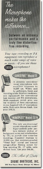 1956 ad for Shure microphones in   Phantom Productions vintage recording collection