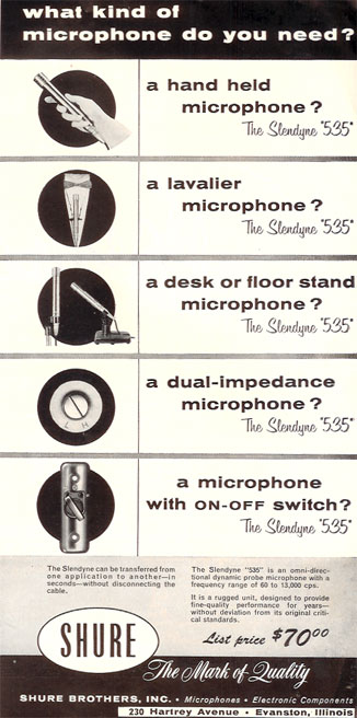 1956 ad for Shure microphones