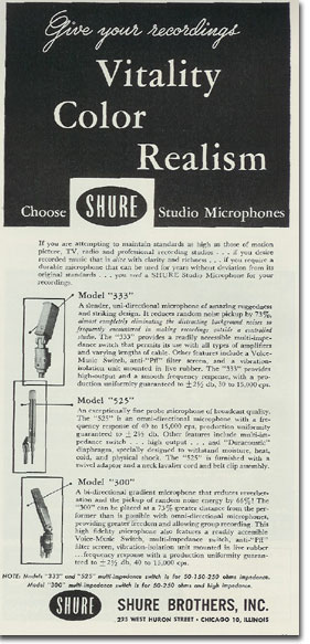 picture of 1956 ad for Shure studio microphones