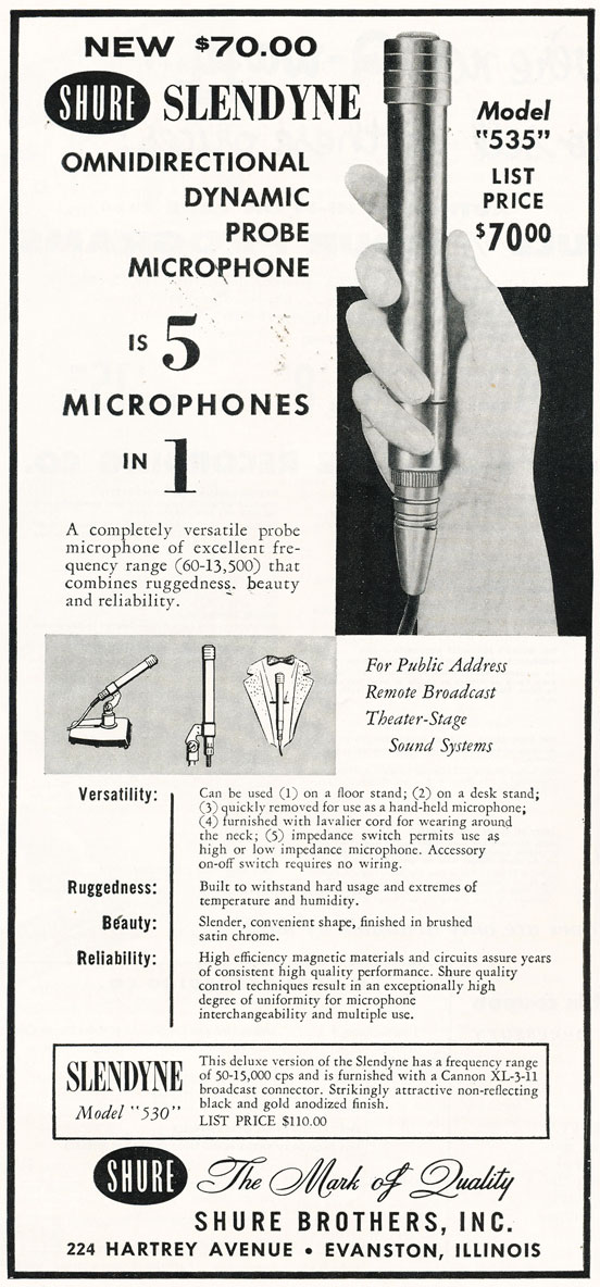 1956 ad for the Turner 535 Slendyne microphone in   Reel2ReelTexas.com's vintage recording collection