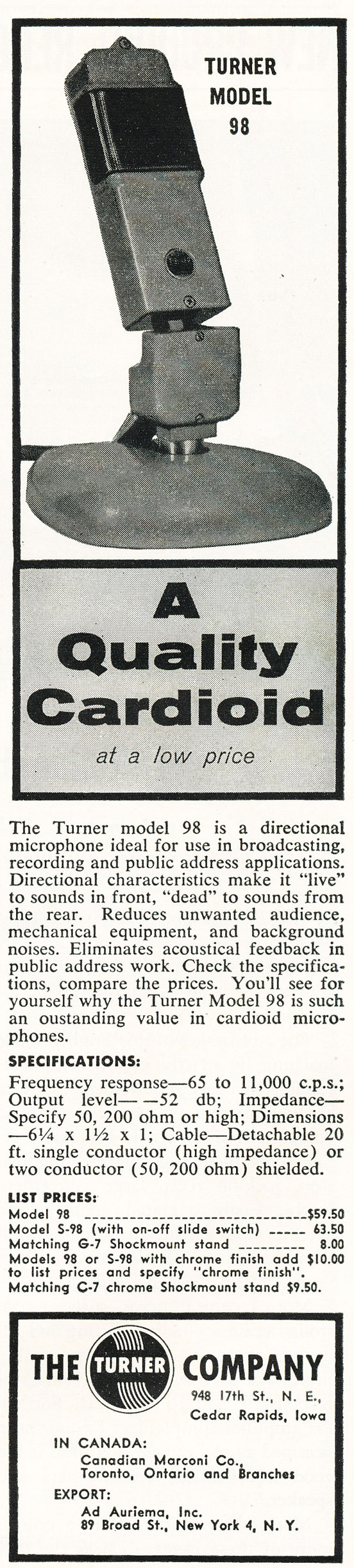 1957 ad for the Turner 98 microphone in Phantom productions' vintage recording collection