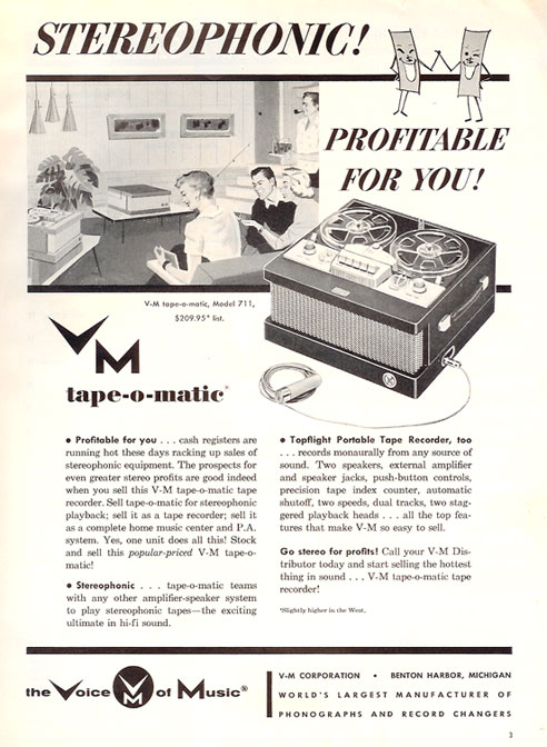 1956 Voice of Music tape-o-matic, Model 711 ad in Reel2ReelTexas' vintage reel tape recorder collection