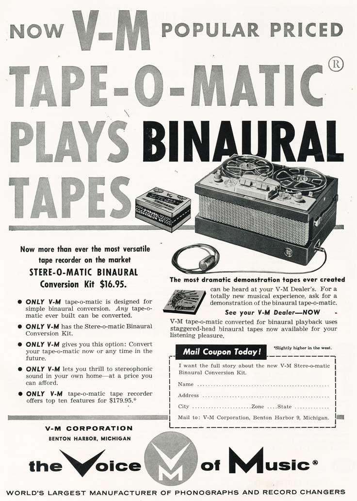 1955 ad for the Voice of Music reel tape recorders in Reel2ReelTexas.com's vintage recording collection